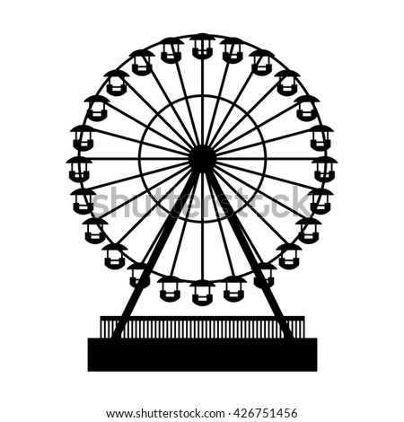 Silhouette Park Atraktsion Ferris Wheel. illustration - stock photo