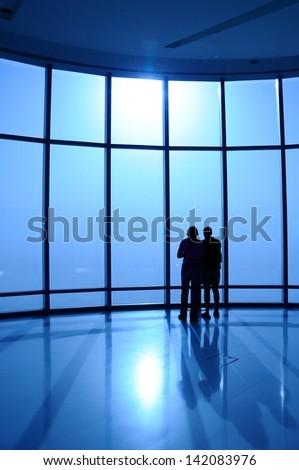 Silhouette people - stock photo