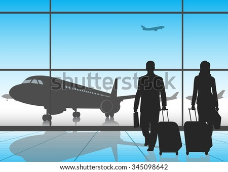 silhouette people in an airport - stock photo