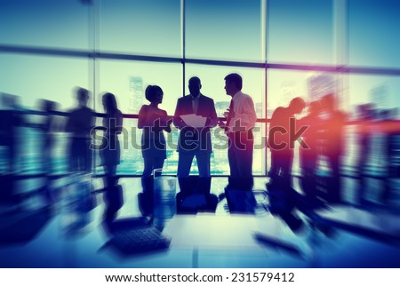 Silhouette People Meeting Cityscape Team Concept - stock photo