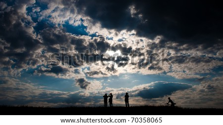 Silhouette people of spare time - stock photo