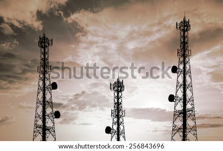 Silhouette phone antenna - stock photo