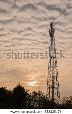 Silhouette photo of communication tower in the morning time