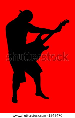 Silhouette playing the guitar.  Includes clipping path. - stock photo