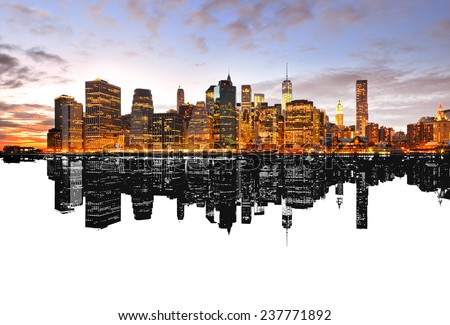Silhouette reflection of New York skyline. - stock photo