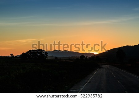 silhouette road with nature background in the morning