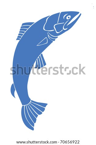 silhouette salmon on white background - stock photo