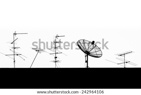 Silhouette Satellite Dish and Antenna TV - stock photo