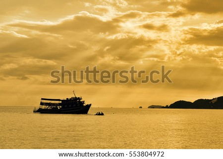 silhouette Ship on the sea