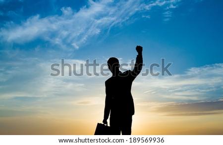 Silhouette shot of businessman celebrating. - stock photo