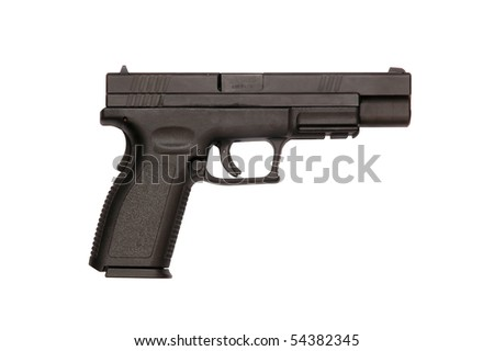 Silhouette side view of a Springfield semiautomatic pistol - stock photo