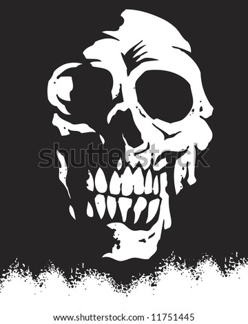 silhouette skull image - stock photo