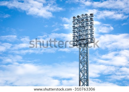 Silhouette stadium light and blue sky