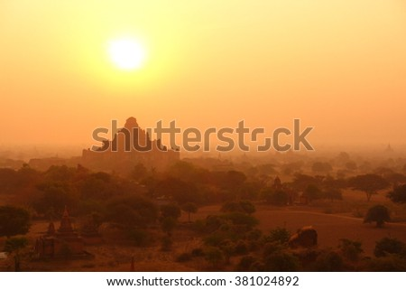 Silhouette Sunrise of Old Pagoda in Bagan, Myanmar  - stock photo