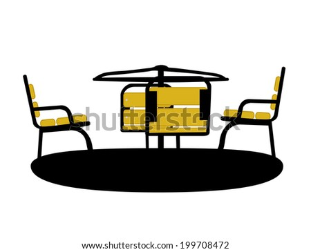 Silhouette Swing Black on White Background.  Illustration - stock photo