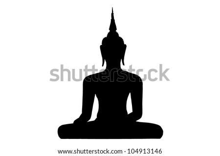 Silhouette Thai Buddha - stock photo