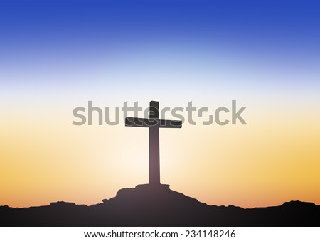 Silhouette the cross over blurred sunset background. - stock photo