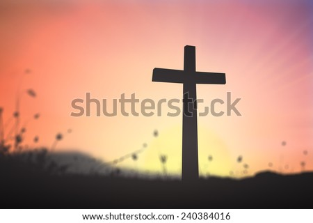 Silhouette the cross over blurred sunset background. Christmas background, Worship, Forgiveness, Mercy, Humble, Repentance, Reconcile, Adoration, Glorify, Redeemer, Redemption,Trust, Love concept. - stock photo