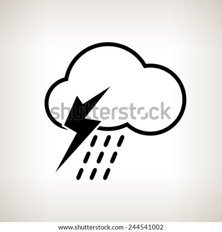 Silhouette thunderstorm,cloud with thunderstorm and rain on a light background , black and white   illustration - stock photo