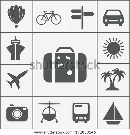 silhouette travel and vacation icon set with a hot air balloon  cruise liner  bicycle  car  plane  bus  helicopter  signpost  luggage  palm trees  camera  sun and yacht - stock photo