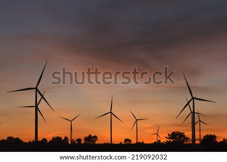 Silhouette turbine in sunset