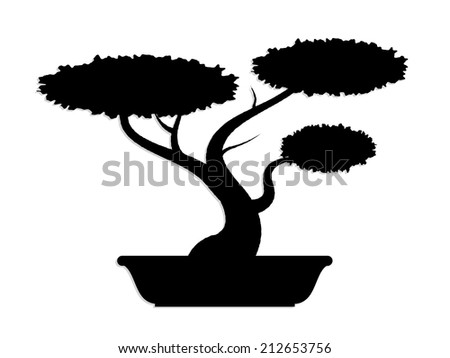 silhouette vector bonsai tree/ illustration - stock photo
