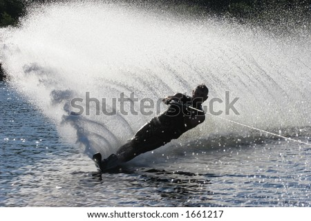 Silhouette Water Ski - stock photo