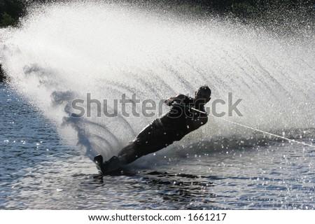 Silhouette Water Ski - stock photo