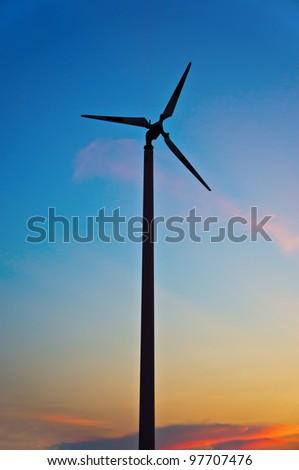 silhouette windmill - stock photo