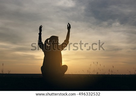 Silhouette woman lifestyle relax at sunset