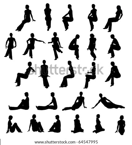 Silhouette woman sitting - stock photo