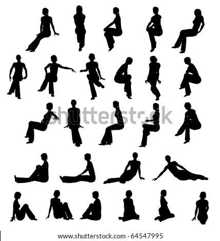 Silhouette woman sitting - stock photo