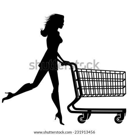 Silhouette woman with a shopping cart - stock photo
