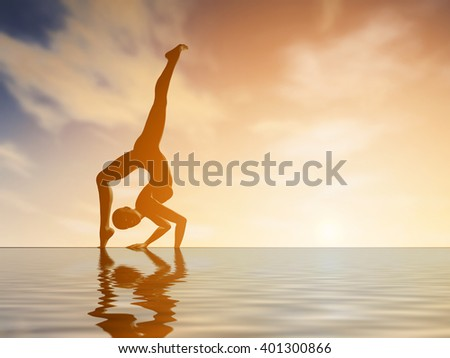 Silhouette young woman practicing yoga on the beach at sunset: 3d rendering - stock photo