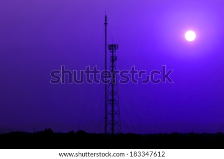 Silhouetted Antennas in the sunset