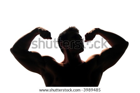 Silhouetted muscular man showing his biceps isolated on white - stock photo