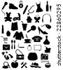 Silhouettes Items - Shopping,web,accessories objects - stock photo