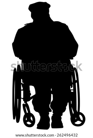 Silhouettes man in wheelchair on white background - stock photo
