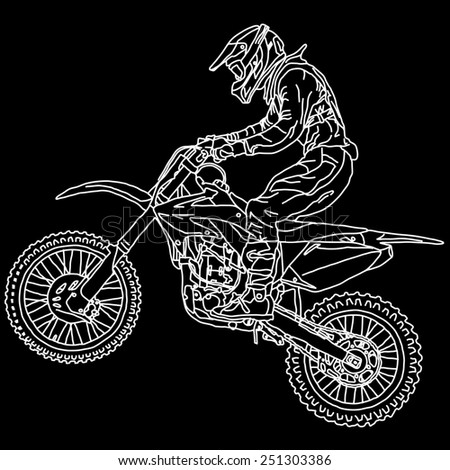 silhouettes Motocross rider on a motorcycle.  illustrations. - stock photo