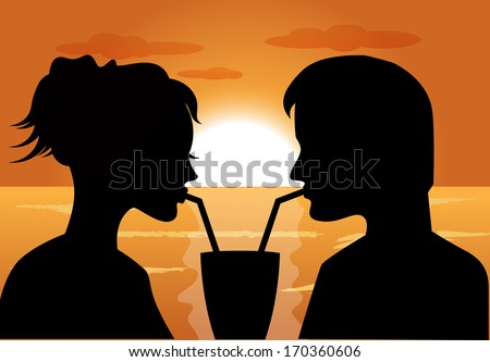 silhouettes of a couple in love at sunset drink from the same glass - stock photo