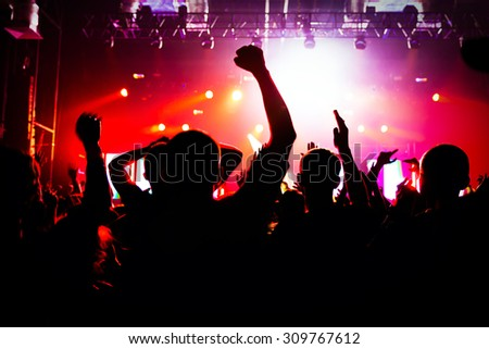 silhouettes of a crowd - stock photo