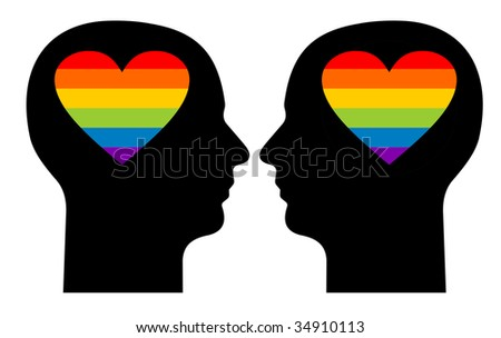 Silhouettes of a gay couple with colorful hearts in their heads - stock photo