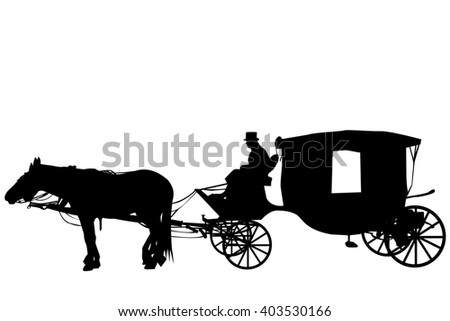 Silhouettes of a vintage carriage with coachman  - stock photo