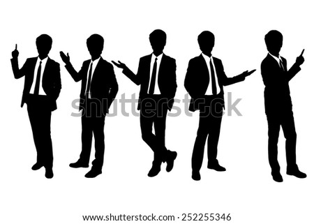 Silhouettes of business man presenting in full length isolated over a white background - stock photo