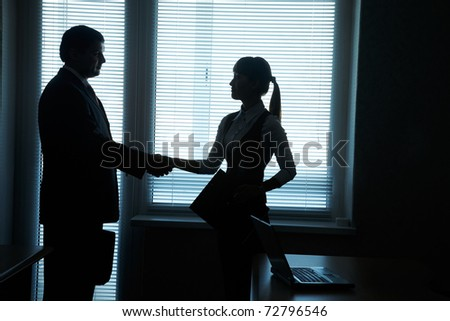 silhouettes of business partners handshake against the window in the office