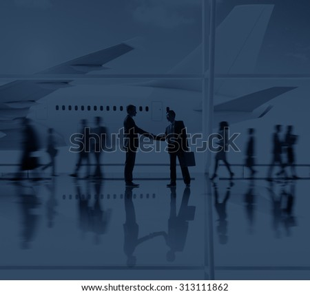 Silhouettes of Business People Airport Passengers Concept