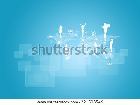 Silhouettes of business people and network. World map as backdrop - stock photo