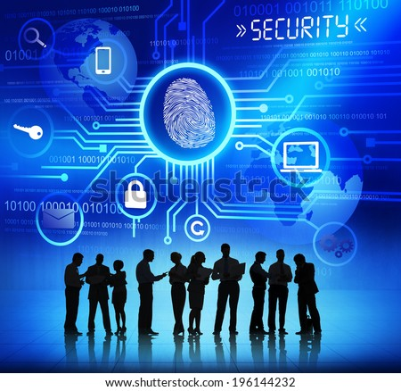 Silhouettes of Business People and Security Concepts - stock photo