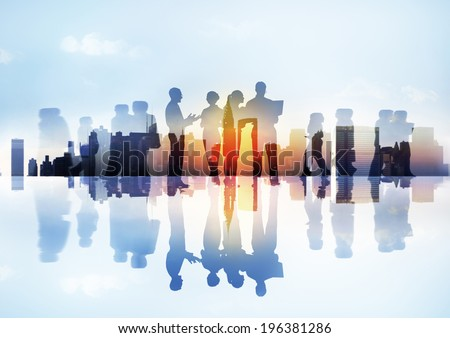 Silhouettes of Business People's Different Activities Outdoors - stock photo