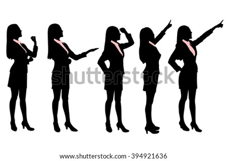 Silhouettes of Business women standing with different hand gesture - stock photo